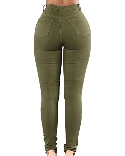 Skinny Verde Skinny Del Lápiz Mujeres Jeans Para Ejército Vaqueros Pantalones Denim ZqqpHt