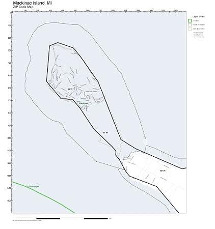 Amazon Com Zip Code Wall Map Of Mackinac Island Mi Zip Code Map