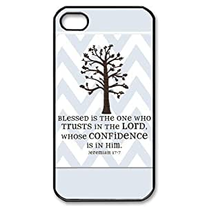 HOT sale,Blessed Is the one Who Trusts in the Lord Whose Confidence is in Him Jeremiah 17:7 pattern for black plastic iphone 4,4s case