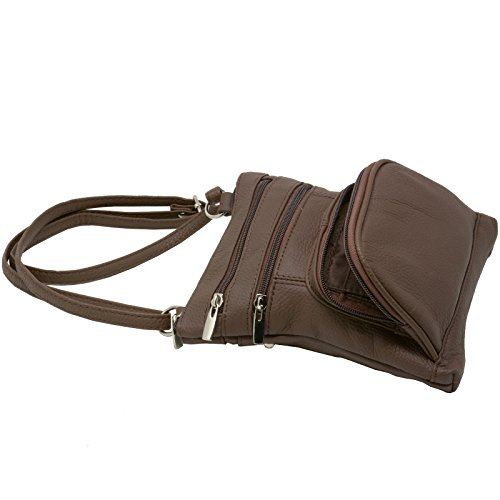 Purse Leather Wallet Cross Brown Bag Shoulder Body Handbag Organizer Multi Pockets Wa06tg0n