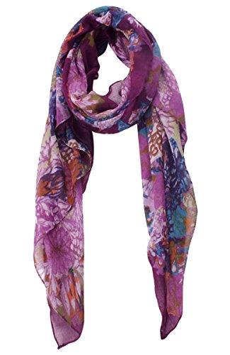 Btmall Watercolor Scarves: Bright Flowers Print Women's Shawl Scarf (Purple)