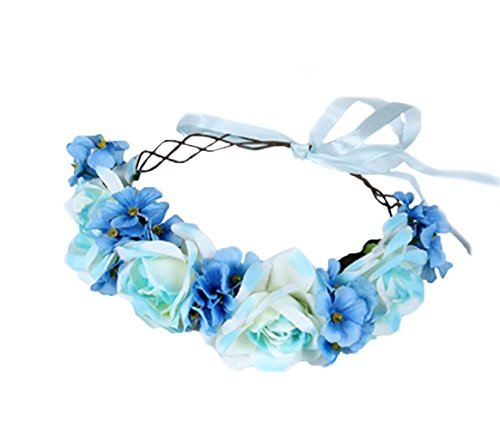 Vivivalue Hade-made Flower Wreath Headband Crown Floral Garland with Ribbon Boho for Festival Wedding Blue