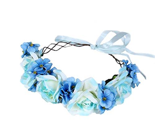 Vivivalue Hade-made Flower Wreath Headband Crown Floral Garland with Ribbon Boho for Festival Wedding Blue