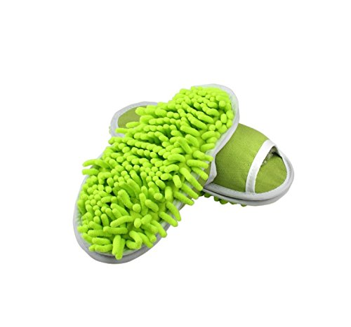 Goldball Removable Ultrafine Chenille Cleaning Dusting Mopping Shoes Microfiber Dusting Mopping Slipper Fits Women Size 6 to 9 (Green)