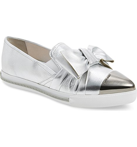 - Miu Cap Toe Hidden Wedge Sneakers Shoes Silver (40)