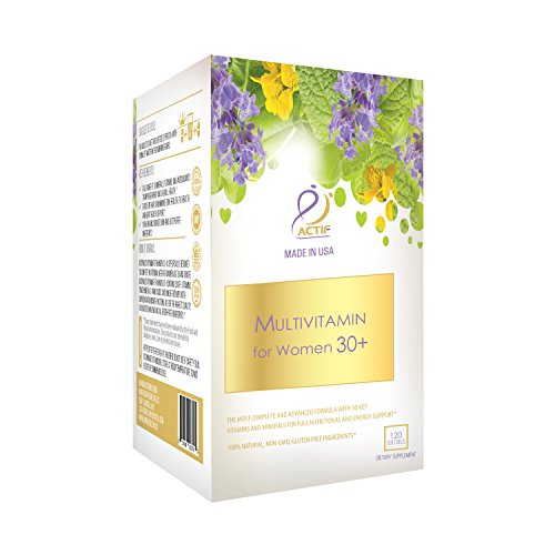 Actif Organic Multivitamin for Women Age 30+ with 30 Organic Vitamins and Organic Herbs, Non-GMO, Made in USA, 120 count