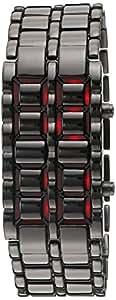 GGI International Men'sLava Black Stainless Steel Lava RED LED Digital Bracelet Watch