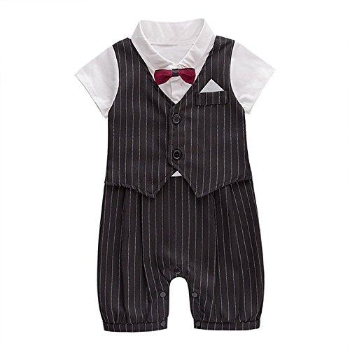 edianjtoui Baby Tie Striped Vest Formal Wear Gentleman Wedding Baby Boy Romper Outfit Black 3-6 Months by edianjtoui