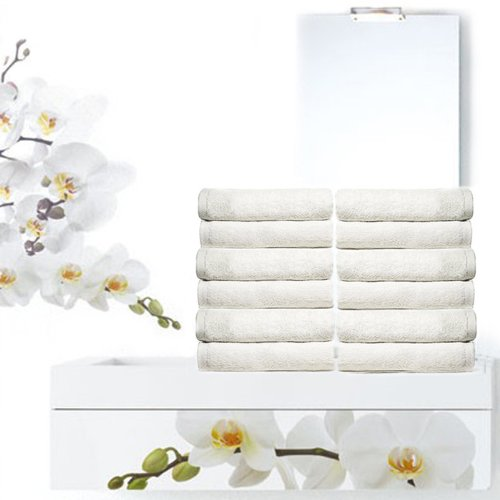 Royal Resort Collection - 12 piece Washcloth Set, Ultra Upscale Terry Cloth, Color: Pure White, 100% Eco-Friendly Turkish (Royal Hotel Resort)