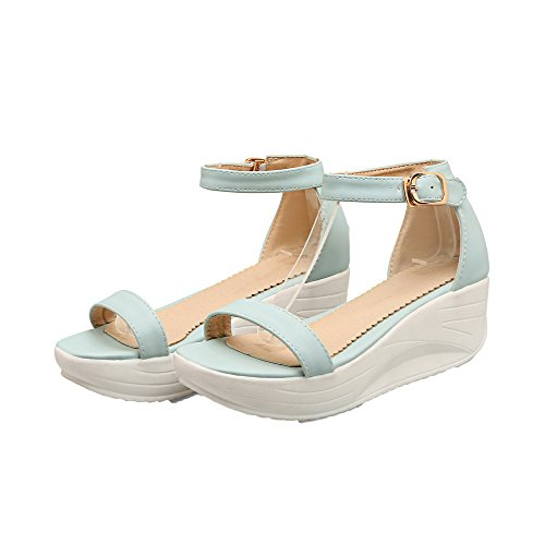 Open Solid Women's Buckle WeenFashion Pu Toe Heels Kitten Sandals LightBlue TIqO6Ww