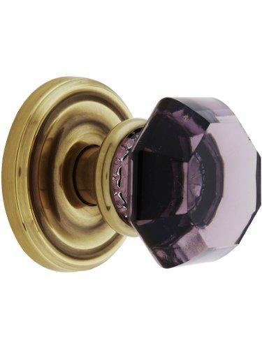 Amethyst Rosette - Classic Rosette Set With Amethyst Crystal Door Knobs Dummy Antique Brass. Old Door Knobs.