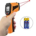 Laser Infrared Thermometer Non-Contact Digital Temperature Gun?Adjustable Emissivity &MAX/MIN/? -50°C to 550°C(-58°F to 1022°F) IR Thermometer for Industrial,Kitchen Cooking,Ovens