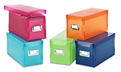Whitmor's Plastic Storage Boxes, are great way to store a variety of items. They are made of a durable plastic and are easy to assemble and come in five fun colors. A convenient stainless metal ID plate on the front makes it easy to label the...