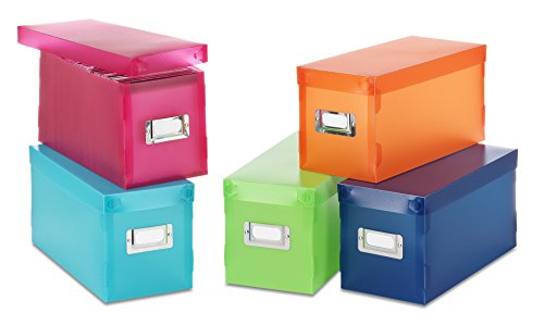 Acrylic Cd Holder - Whitmor Plastic Storage Boxes Assorted Colors Set of 5