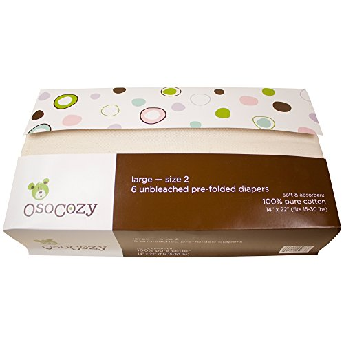 Photo OsoCozy - Prefolds Unbleached Cloth Diapers, Size 2(15-30 lbs), 6 Count - Soft, Absorbent and Durable 100% Indian Cotton Natural Baby Diapers - Highest Quality & Best-Selling Cloth Diapers Sold Online