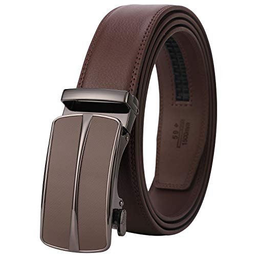 Lavemi Men's Real Leather Ratchet Dress Belt with Automatic Buckle,Elegant Gift Box(55-0093 Brown Leather) ()