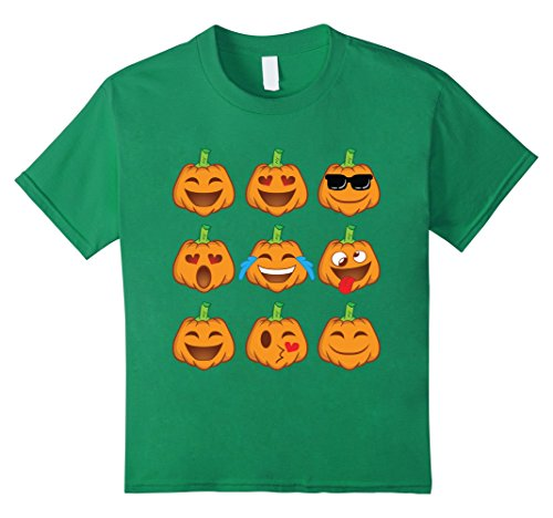 Kids Pumpkin Face Shirt - Smiley Pumpkin Shirt Halloween Costume 6 Kelly Green