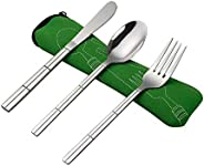 Dehouse 3 Pieces Stainless Steel Traveling Cutlery, Camping Cutlery Set Knife Fork Spoon with Green Case
