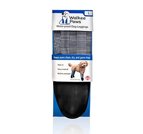 Walkee Paws Waterproof Dog Leggings - Keep Your Dog's' Clean & Dry Without The Hassle of Boots - Classic Checkered Color (Large)