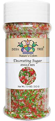 India Tree Nature's Colors Mix Decorating Sugar, Jingle, 7.5 Ounce (Christmas Natural Decorating)