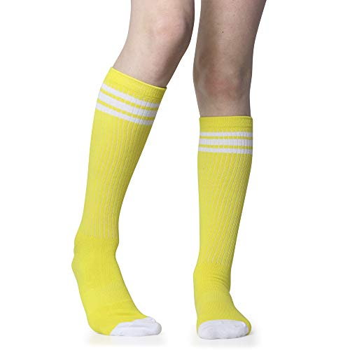 Baby, Toddler & Kids Knee High Tube Socks For Boys & Girls With Grips (6-10 Years (Size 1-4), Yellow/White)