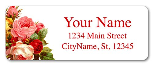 (Personalized Return Address Labels - Beautiful Flowers Vintage Roses - 120 Custom Self-Adhesive Stickers)