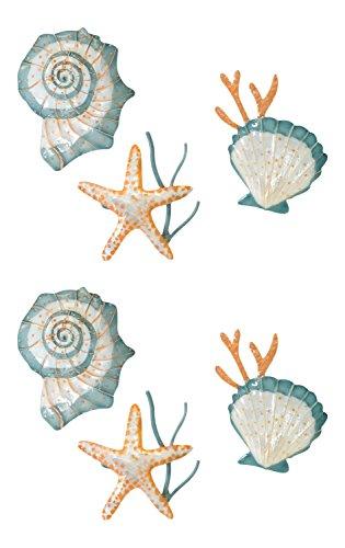 Seabrook Starfish and Shells Metal Seashell Kitchen Dining Napkin Rings Set of 6 ()