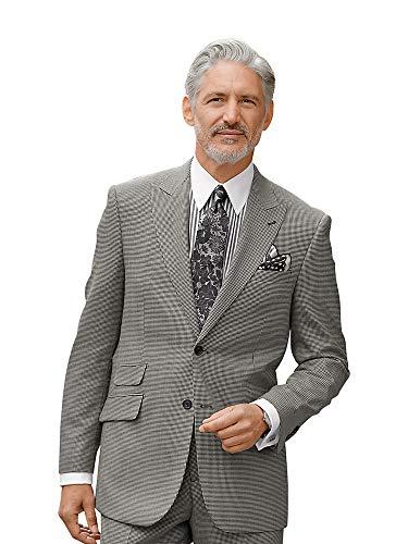 Wool Houndstooth Peak Lapel Suit Jacket Black/Grey 44 Regular ()