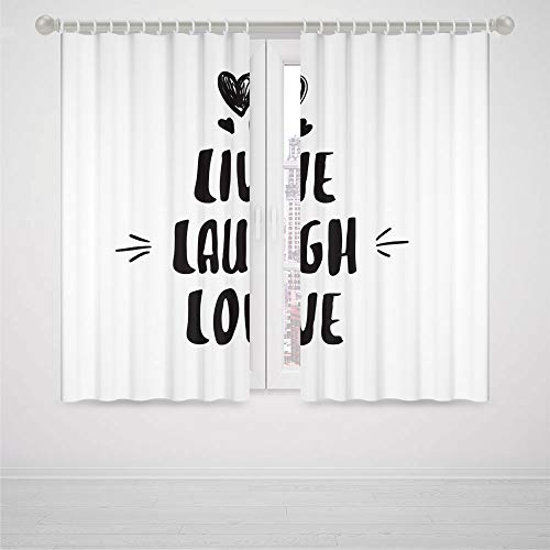 iPrint Closet Curtain for Bedroom Live Laugh Love Decor Cute Doodle Hearts Hand Drawn Modern Lettering Arrows Happiness High-Precision Blackout CurtainBlack and White