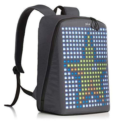 "Pix Digital Customizable Backpack – Smart Waterproof Backpack with programmable LED Screen – 15"" Laptop Backpack for Women & Men (No Powerbank, Grey)"