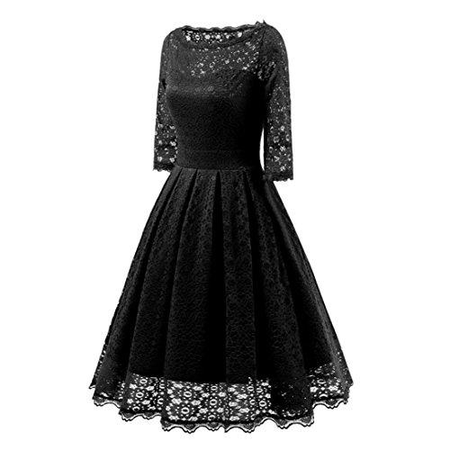 Oferta Para Retro de K Vestido Coctel Larga Vestidos En de Negro Ropa Noche Mujer Elegantes youth® Mujer encaje Manga Fiesta xOqY1UrOtw