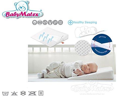 BabyMatex ** AEROKLIN Babykopfkissen inkl. Bezug ** Atmungsaktives Kopfkissen in 2 Größen ** AERO 3D Mesh System für eine perfekte Luftzirkulation (60x36 cm)