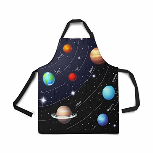 InterestPrint Solar System Orbit Twinkling Night Sky Star Apron for Women Men Girl Chef with Pockets, Sun Earth Mar Mercury Jupiter Saturn Uranus Neptune Bib Apron Kitchen for Cooking Baking Painting (Earth Day Apron)