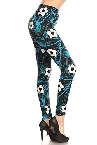(R867-OS Soccer Babe Print Fashion Leggings)