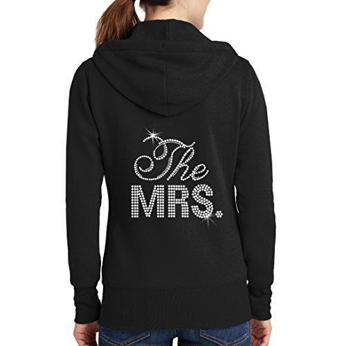 The Mrs. Rhinestone Bridal Hoodie - Black (L (12-14))