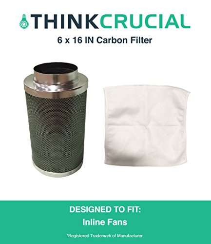 """6x16"""" Carbon Inline Fan Filter & Odor Control, Part # GLFILT6M; Perfect for Odor Elimination in Grow Rooms, Cigarette Smoke, Pet Dander, Trash, Plant Emissions & - Grow The Perfect Room"""