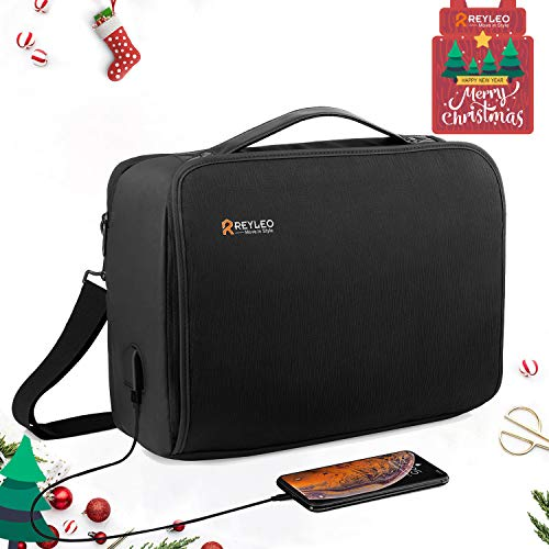- REYLEO Laptop Briefcase 15.6 Inch USB Mens Messenger Bag Waterproof Travel Business Shoulder Bag with Luggage Strap for Men Women School Fits MacBook HP Dell Lenovo Notebook Tablet LCB2A