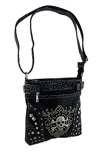 Skull Purse Black 5 Crossbody Concealed X Body 25 Carry Studded Bags Embroidered Inches 8 Womens 10 Vinyl 1 Rhinestone X Cross qw44FB