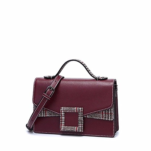 The Style Joker Single Shoulder Satchel Fashion Claret Bump Claret Square Bag The Slanting New into 2018 Color Bag dwgn4qtxpd