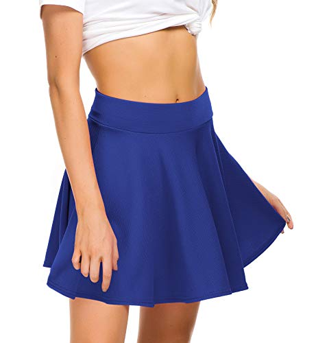 (EXCHIC Women Stretch Waist Flared Mini Skater Skirt Casual Pleated Skirts (S, Royal Blue))