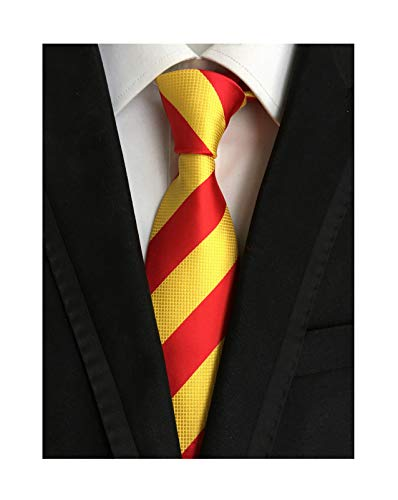 (Mens Red and Gold Tie Striped Patterned Graduation Student Silk Textured Necktie)