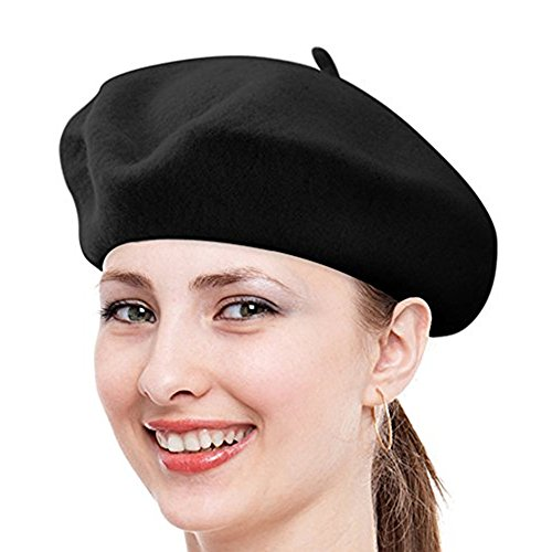 FuzzyGreen Classic French Beret, Black Solid Color French Wool Beret - 2017 Newest