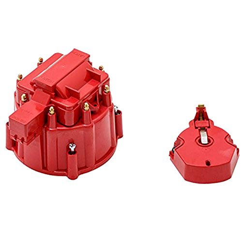 (A-Team Performance CR8R HEI OEM Distributor Cap, Rotor, and Coil Cover Kit Red )