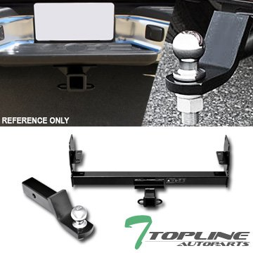 Topline Autopart Class 3 III Black 2' Rear Bumper Trailer Tow Hitch Towing Mount Receiver Tube With 2 Inch Drop Loaded Ball For 05-15 Toyota Tacoma Topline_autopart