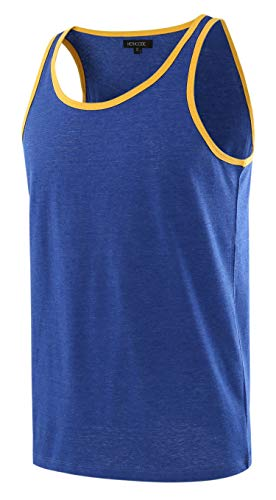 HETHCODE Men's Classic Basic Athletic Jersey Tank Top Casual T Shirts H.Blue/A.Gold XXL ()