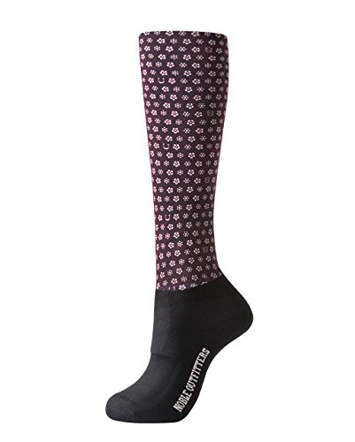 Noble Outfitters Over the Calf Peddies - Women's Print - Wine Daisy Print - One Size