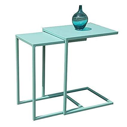 pick up f1260 7ebb5 OC Orange-Casual Nesting Table Coffee Table with C Shape Set of 2,Metal  Frame for Sofa Couch,Side Table,Turquoise