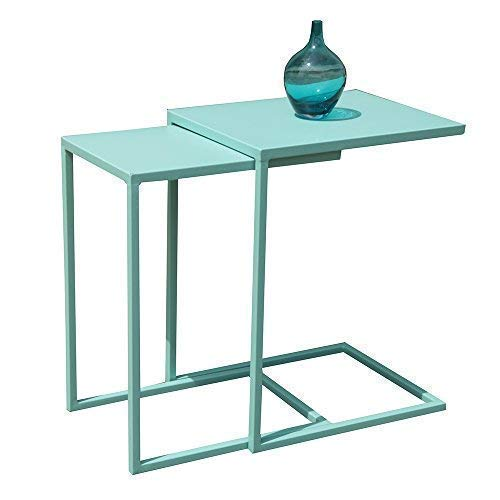 Stacking Table Outdoor - OC Orange-Casual Nesting Table Coffee Table with C Shape Set of 2,Metal Frame for Sofa Couch,Side Table,Turquoise