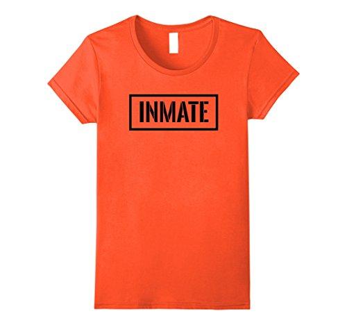 Womens Inmate Prisoner Halloween Costume T-Shirt Medium Orange