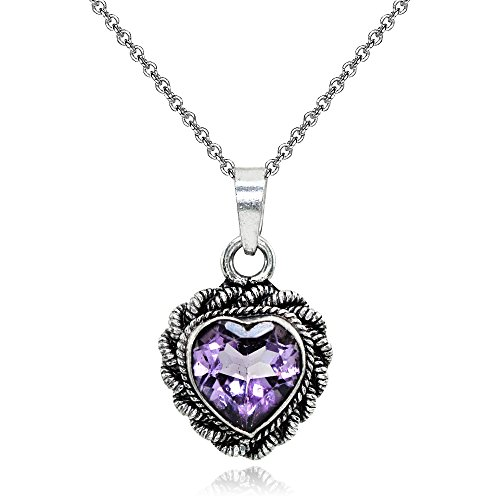 Rope Twist Heart - Sterling Silver Simulated Amethyst Oxidized Bali Twist Rope Heart Pendant Necklace